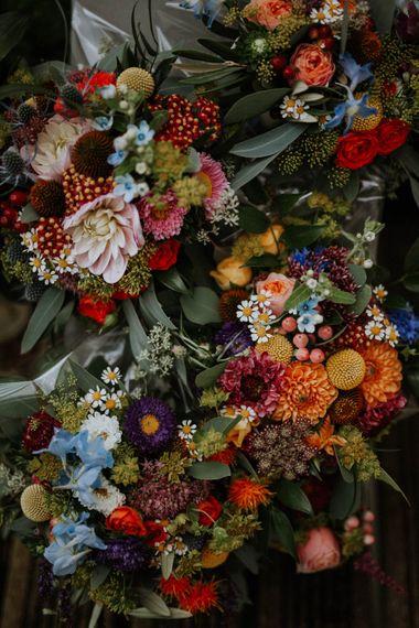 Colourful Wedding Flowers | Colourful DIY Barn Wedding at The Manor Barn, Cambridge | Meghan Lorna Photography