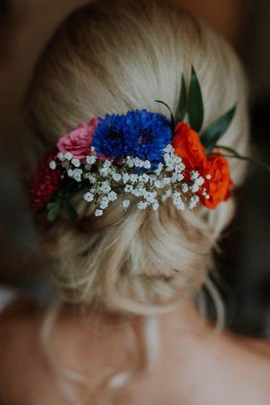 Fresh Wedding Hair Flowers | Colourful DIY Barn Wedding at The Manor Barn, Cambridge | Meghan Lorna Photography