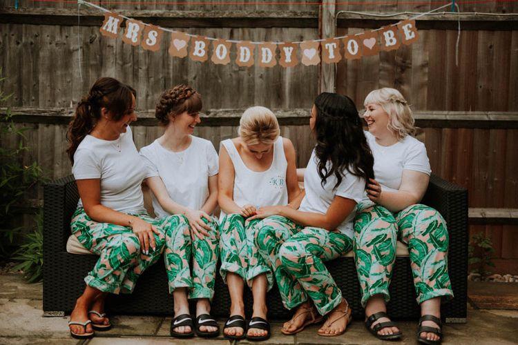 Matching Getting Ready Bridal Party Robes | Colourful DIY Barn Wedding at The Manor Barn, Cambridge | Meghan Lorna Photography