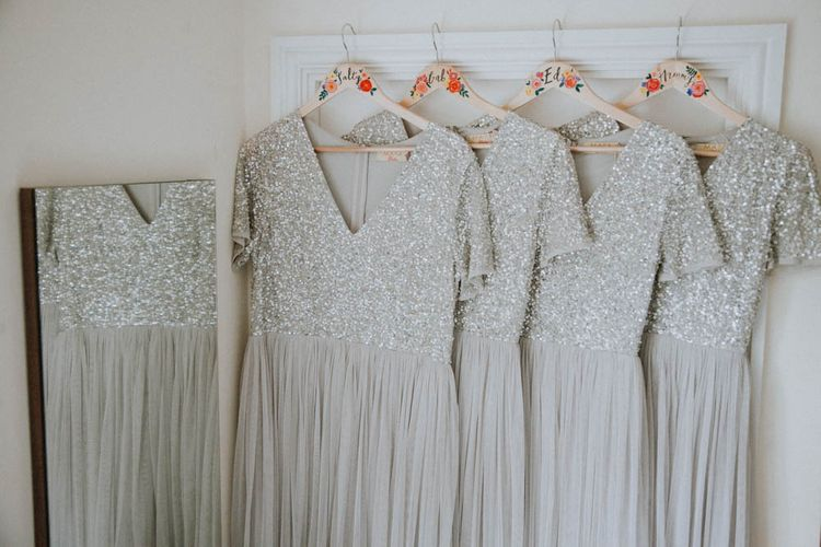 ASOS Sequin Bridesmaid Dresses | Colourful DIY Barn Wedding at The Manor Barn, Cambridge | Meghan Lorna Photography