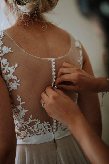 Illusion Back Bridal Gown | Colourful DIY Barn Wedding at The Manor Barn, Cambridge | Meghan Lorna Photography