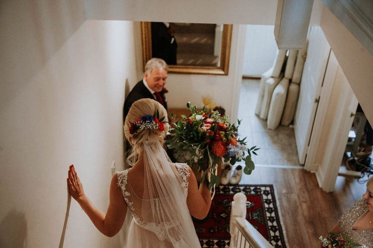 Father of the Bride First Look | Colourful DIY Barn Wedding at The Manor Barn, Cambridge | Meghan Lorna Photography