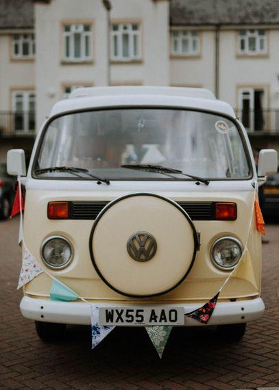 Camper Van | Colourful DIY Barn Wedding at The Manor Barn, Cambridge | Meghan Lorna Photography