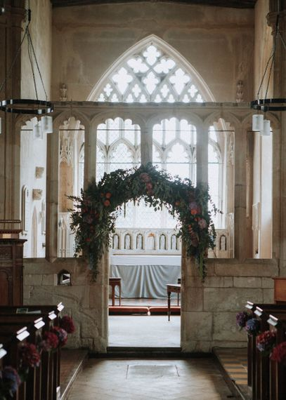 Floral Arch Church Flowers | Colourful DIY Barn Wedding at The Manor Barn, Cambridge | Meghan Lorna Photography