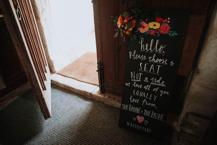 Blackbaord Wedding Sign | Colourful DIY Barn Wedding at The Manor Barn, Cambridge | Meghan Lorna Photography