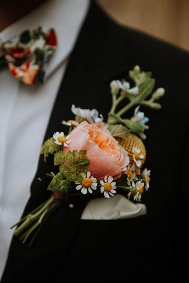 Peony Buttonhole | Colourful DIY Barn Wedding at The Manor Barn, Cambridge | Meghan Lorna Photography