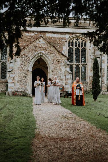 Church Wedding Ceremony | Bridesmaids in Sequin ASOS Dresses | Colourful DIY Barn Wedding at The Manor Barn, Cambridge | Meghan Lorna Photography