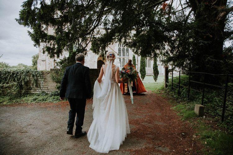 Church Wedding Ceremony | Bridal Entrance in Lace & Tulle Wedding Dress | Colourful DIY Barn Wedding at The Manor Barn, Cambridge | Meghan Lorna Photography