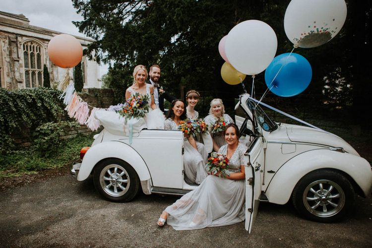 Giant Balloons | Bride in Lace & Tulle Gown | Bridesmaids in Sequin Dresses | Colourful DIY Barn Wedding at The Manor Barn, Cambridge | Meghan Lorna Photography