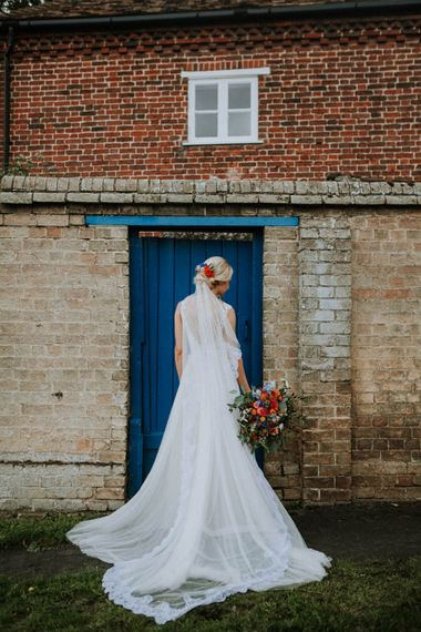 Bride in Lace & Tulle Gown | Colourful DIY Barn Wedding at The Manor Barn, Cambridge | Meghan Lorna Photography