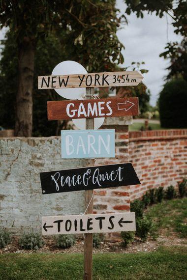 Direction Wedding Sign | Colourful DIY Barn Wedding at The Manor Barn, Cambridge | Meghan Lorna Photography