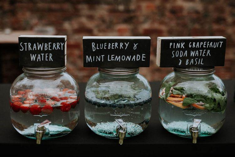 Drinks Dispensers | Wedding Decor | Colourful DIY Barn Wedding at The Manor Barn, Cambridge | Meghan Lorna Photography
