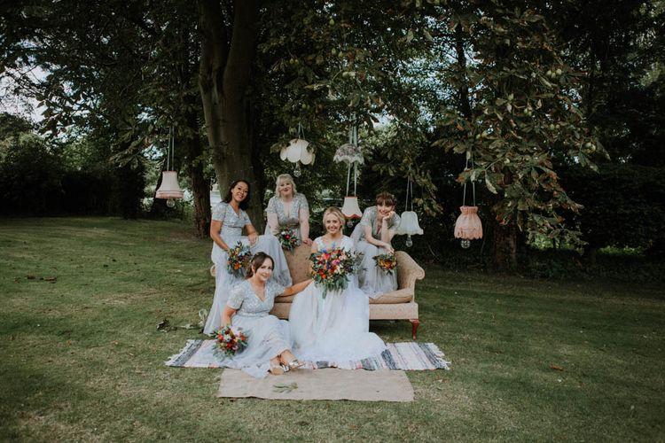 Vintage Chandeliers & Sofas Wedding Decor | Bridesmaids in ASOS Dresses | Colourful DIY Barn Wedding at The Manor Barn, Cambridge | Meghan Lorna Photography