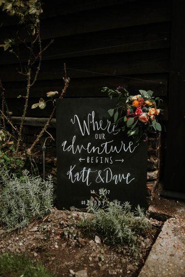 Blackboard Wedding Sign | Colourful DIY Barn Wedding at The Manor Barn, Cambridge | Meghan Lorna Photography