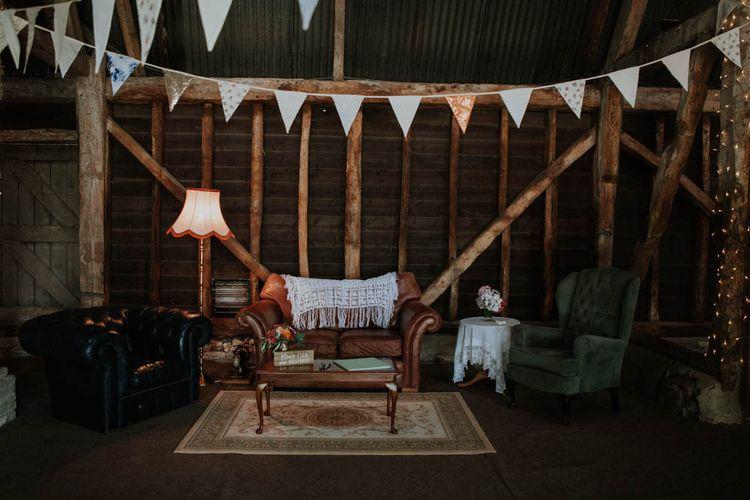 Vintage Sofas & Bunting | Wedding Decor | Colourful DIY Barn Wedding at The Manor Barn, Cambridge | Meghan Lorna Photography