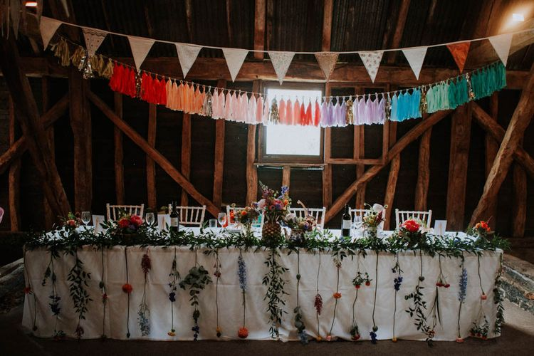 Top Table Wedding Decor | Rainbow Tassels | Colourful DIY Barn Wedding at The Manor Barn, Cambridge | Meghan Lorna Photography