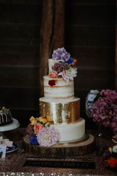 Semi Naked Wedding Cake with Gold Leaf Layer | Colourful DIY Barn Wedding at The Manor Barn, Cambridge | Meghan Lorna Photography