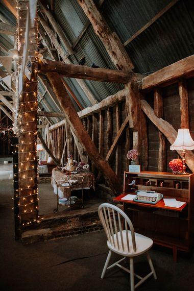 Type Writter Wedding Decor | Colourful DIY Barn Wedding at The Manor Barn, Cambridge | Meghan Lorna Photography