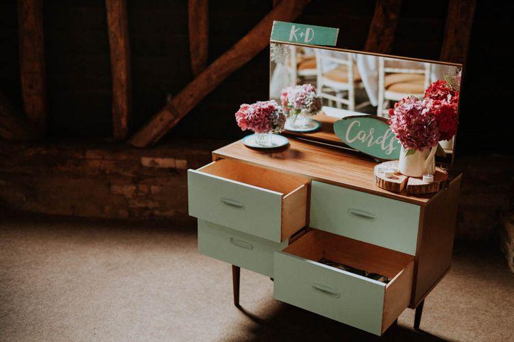 Vintage Dresser Wedding Card Box | Colourful DIY Barn Wedding at The Manor Barn, Cambridge | Meghan Lorna Photography