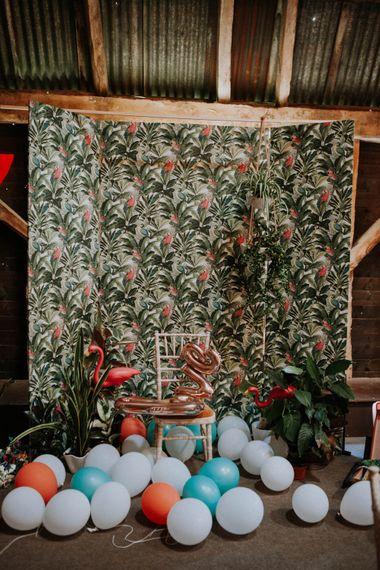 Photo Booth Backdrop | Colourful DIY Barn Wedding at The Manor Barn, Cambridge | Meghan Lorna Photography