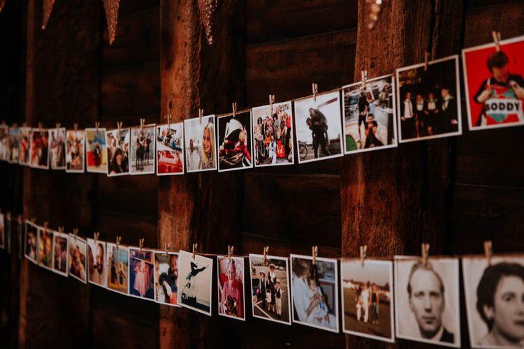 Polaroid Picture Wedding Decor | Colourful DIY Barn Wedding at The Manor Barn, Cambridge | Meghan Lorna Photography