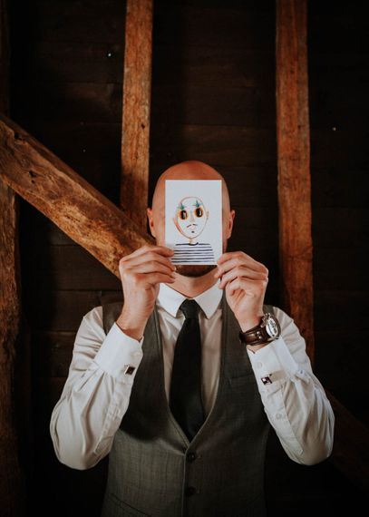 Illustrated Place Setting Cards | Colourful DIY Barn Wedding at The Manor Barn, Cambridge | Meghan Lorna Photography