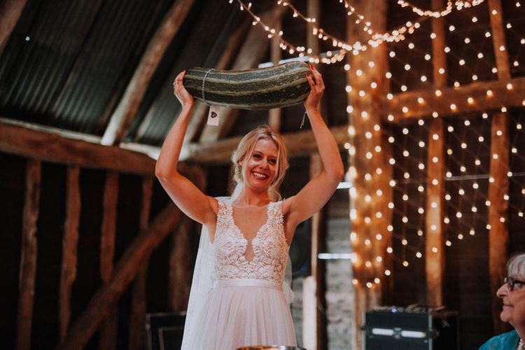 Prize Marrow Competition | Colourful DIY Barn Wedding at The Manor Barn, Cambridge | Meghan Lorna Photography