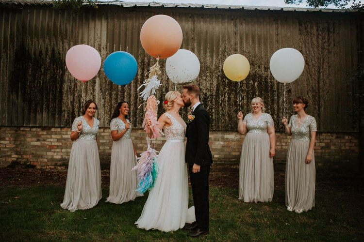 Giant Balloons | Bridesmaids in Sequin Dresses | Colourful DIY Barn Wedding at The Manor Barn, Cambridge | Meghan Lorna Photography