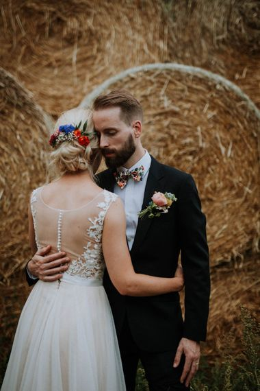 Bride in Backless Lace & Tulle Wedding Dress | Colourful DIY Barn Wedding at The Manor Barn, Cambridge | Meghan Lorna Photography