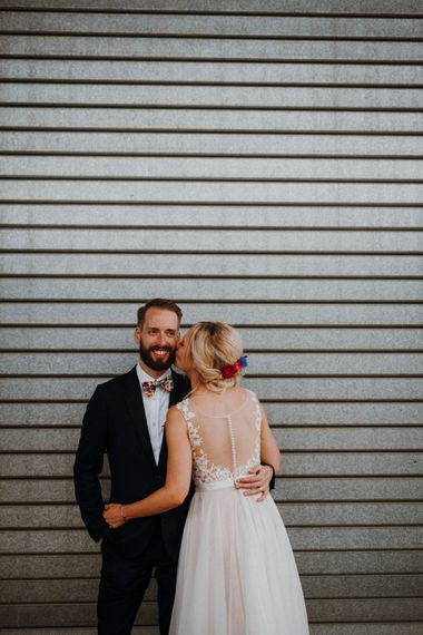 Bride in Backless Lace & Tulle Wedding Dress | Groom in Bow Tie | Colourful DIY Barn Wedding at The Manor Barn, Cambridge | Meghan Lorna Photography