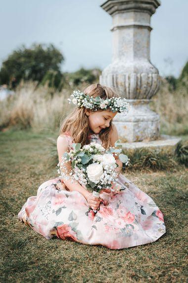 Flower Girl in Pink Floral Monsoon Dress & Flower Crown