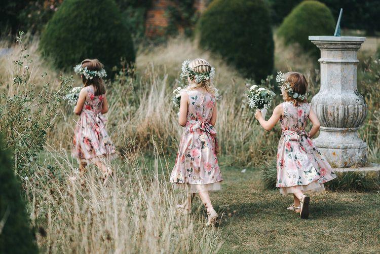 Flower Girls in Pink Floral Monsoon Dresses & Flower Crowns