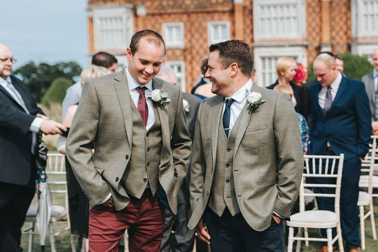 Groomsmen in Chino's & Tweed Jackets from Moss Bros.