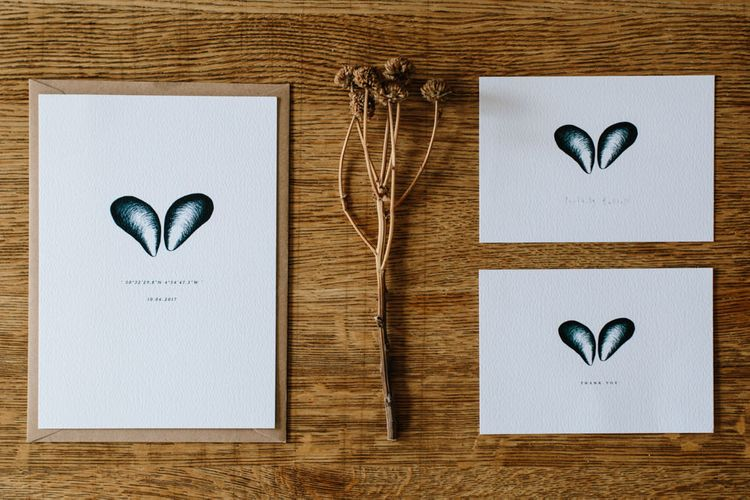 Mussel Shell Illustrations For Wedding Stationery // Coco By Anna Campbell For A Coastal Marquee Wedding In Cornwall With Styling By The Artful Event Co And Prop Hire Inspire Hire With Film By Baxter & Ted And Images From A Thing Like That