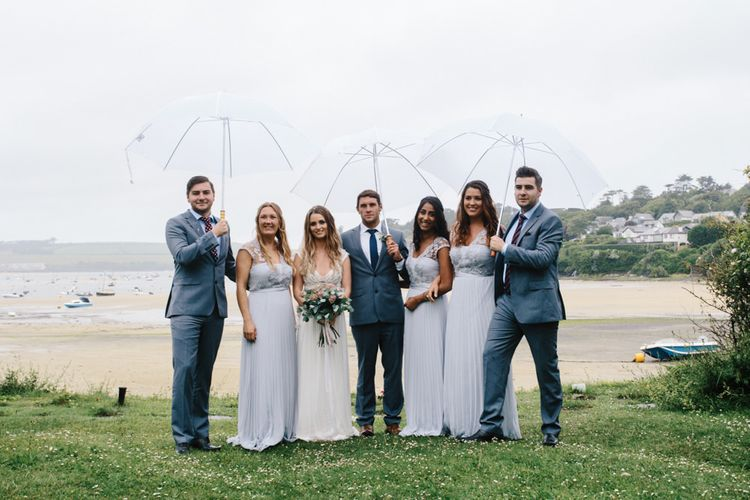 Elegant Wedding Party Coastal Wedding // Coco By Anna Campbell For A Coastal Marquee Wedding In Cornwall With Styling By The Artful Event Co And Prop Hire Inspire Hire With Film By Baxter & Ted And Images From A Thing Like That
