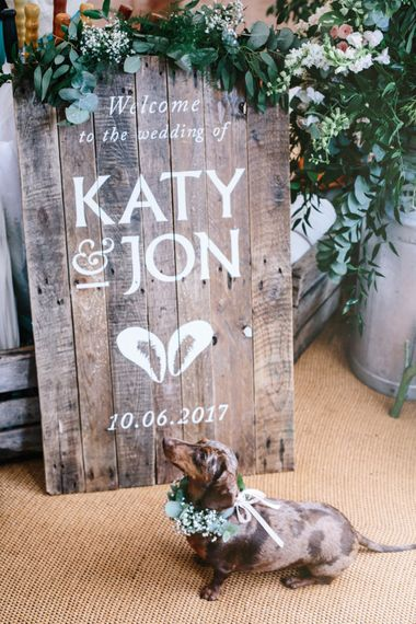 Welcome Sign By Made By Wood & Wood // Dog At Wedding // Coco By Anna Campbell For A Coastal Marquee Wedding In Cornwall With Styling By The Artful Event Co And Prop Hire Inspire Hire With Film By Baxter & Ted And Images From A Thing Like That