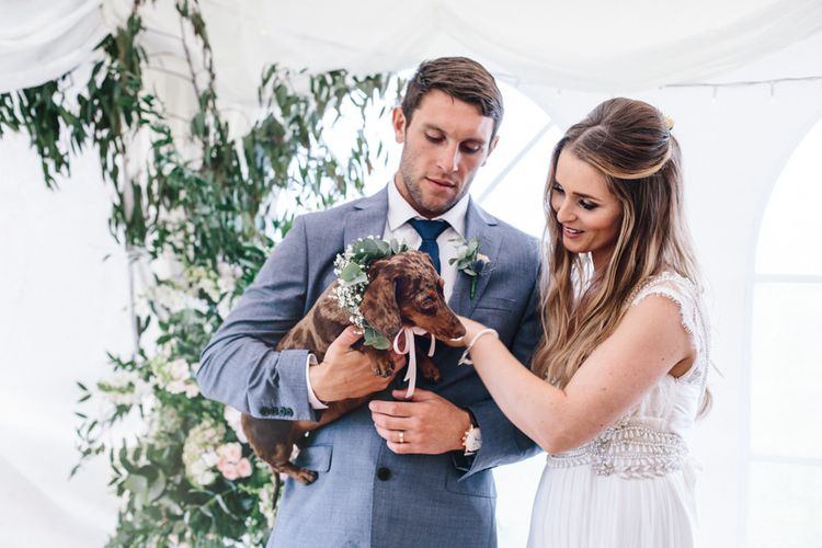 Dog At Wedding // Coco By Anna Campbell For A Coastal Marquee Wedding In Cornwall With Styling By The Artful Event Co And Prop Hire Inspire Hire With Film By Baxter & Ted And Images From A Thing Like That