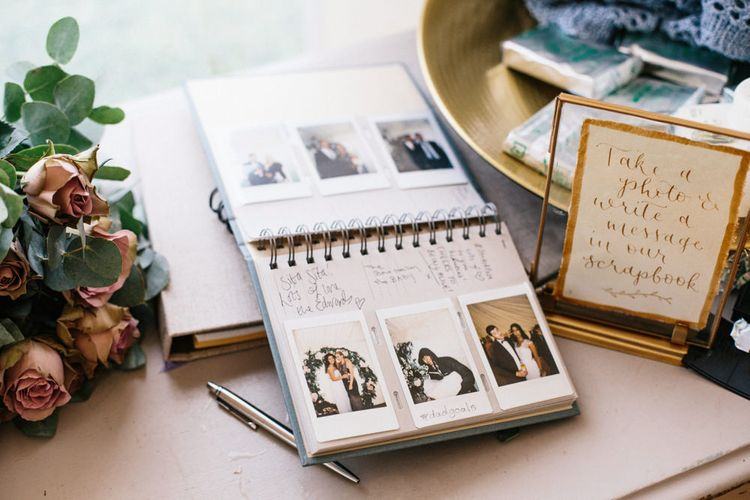 Guest Book For Wedding With Polaroids // Coco By Anna Campbell For A Coastal Marquee Wedding In Cornwall With Styling By The Artful Event Co And Prop Hire Inspire Hire With Film By Baxter & Ted And Images From A Thing Like That