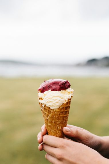 Ice Cream Served At Wedding // Coco By Anna Campbell For A Coastal Marquee Wedding In Cornwall With Styling By The Artful Event Co And Prop Hire Inspire Hire With Film By Baxter & Ted And Images From A Thing Like That