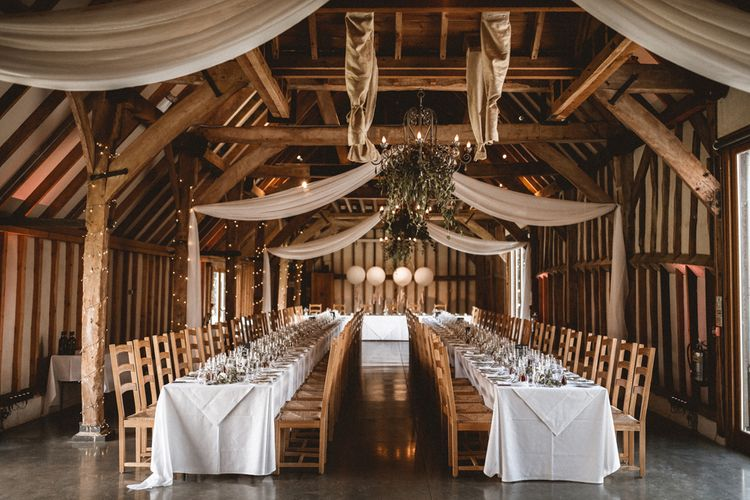 Southend Barns Wedding With Silk Drapes, Fairylights & Giant Balloons