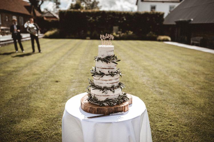 Semi Naked Wedding Cake For Elegant Barn Wedding