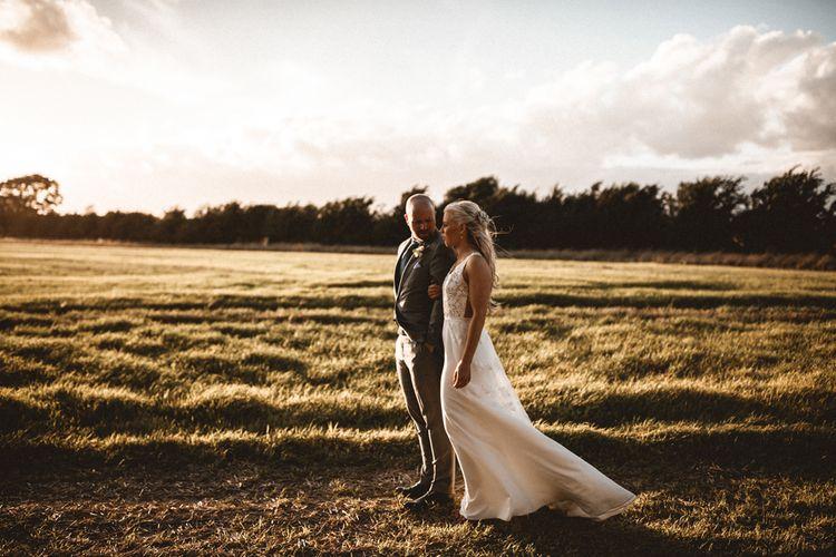 Golden Hour Wedding Couple Portraits