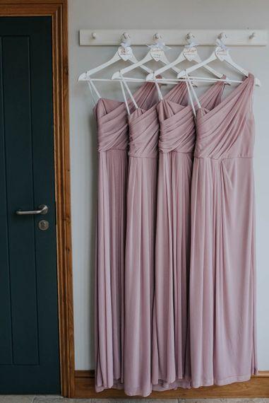 Dusky Pink Davids Bridal Bridesmaid Dresses | | Cooling Castle Barn Wedding | Michelle Cordner Photography