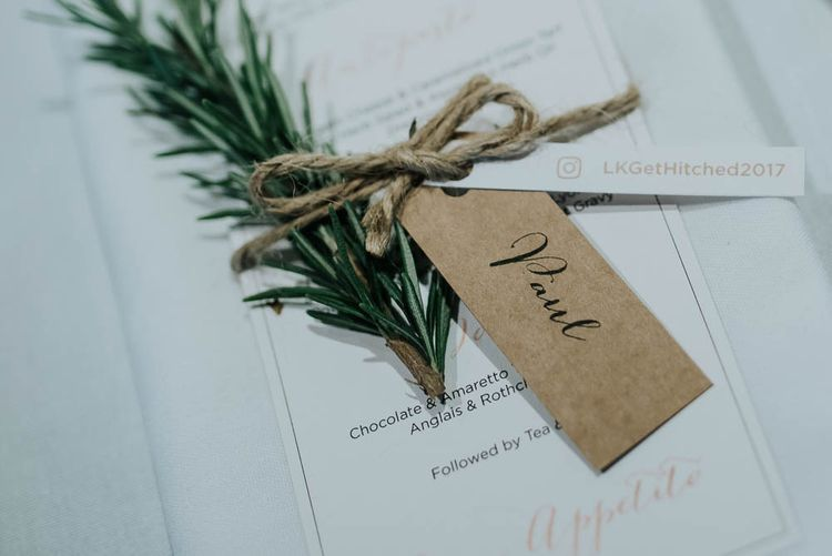 Menu Card with Twine, Kraft Paper Tag & Rosemary Sprig | Cooling Castle Barn Wedding | Michelle Cordner Photography