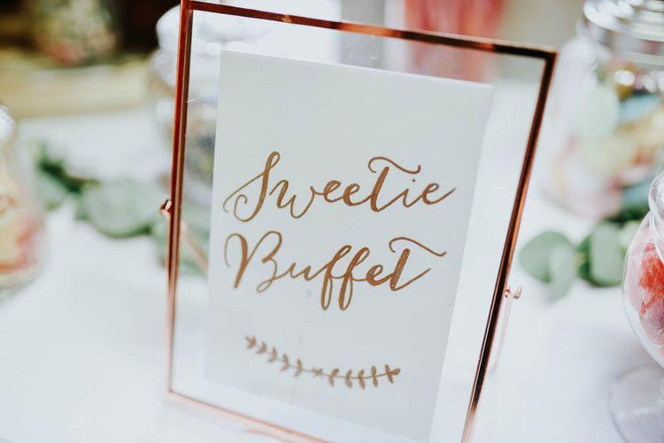 Copper Frame & Wedding Sign | Cooling Castle Barn Wedding | Michelle Cordner Photography