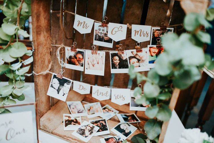 Rustic Crate Polaroid Picture Wedding Decor | Cooling Castle Barn Wedding | Michelle Cordner Photography
