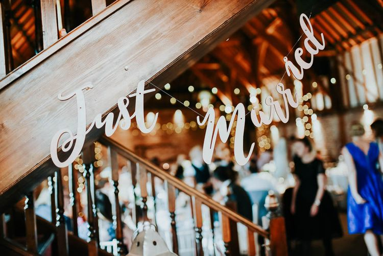 Just Married Bunting | Cooling Castle Barn Wedding | Michelle Cordner Photography