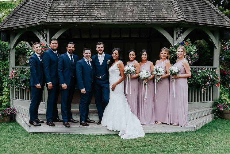 Wedding Party | Bride in Lace Mori Lee Gown | Groom in Ted Baker Suit | Cooling Castle Barn Wedding | Michelle Cordner Photography