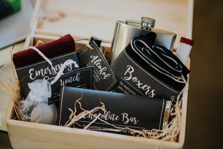 Groom Gift Box | | Cooling Castle Barn Wedding | Michelle Cordner Photography
