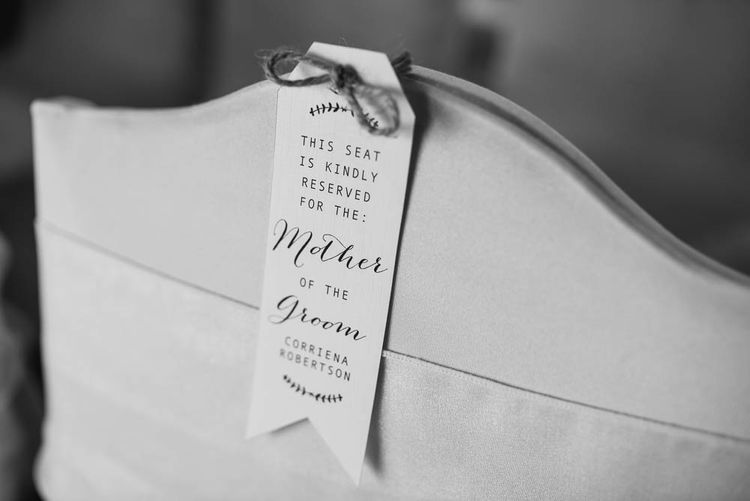Chair Back Sign | | Cooling Castle Barn Wedding | Michelle Cordner Photography